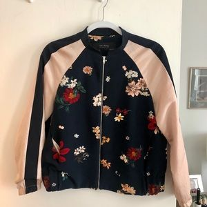 Silk Floral Bomber - navy and pale pink